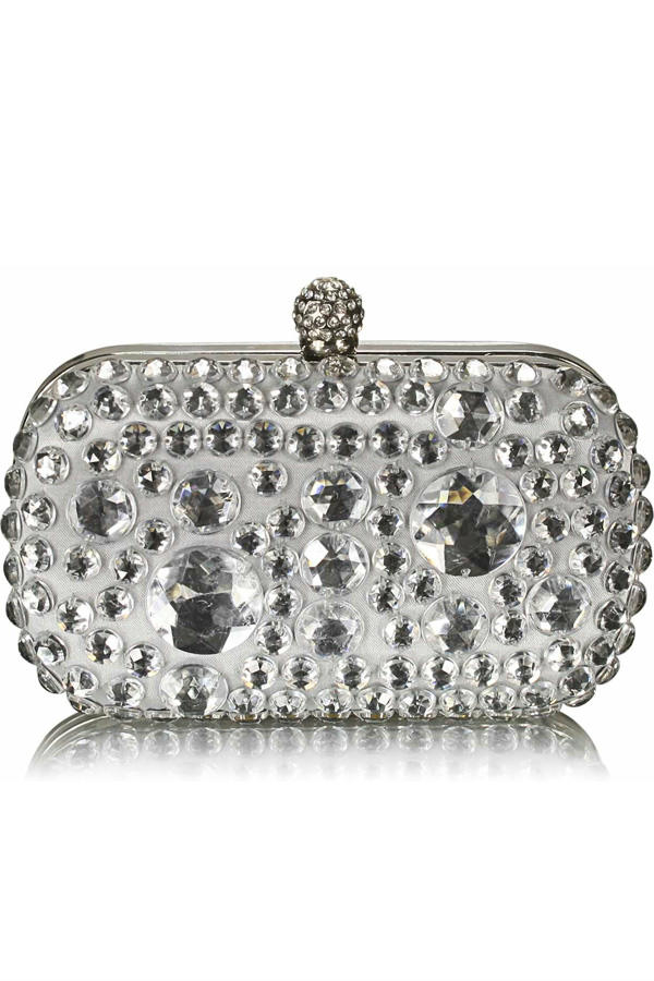 Sparkly crystal satin clutch purse